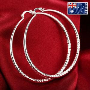 925-Sterling-Silver-Filled-Large-Hoop-Ladies-Dangle-Solid-Earrings-Jewellery