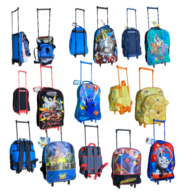 CHILDREN CHARACTER TROLLEY BAGS WHEELED BAG HAND LUGGAGE/'S BACKPACK STYLE