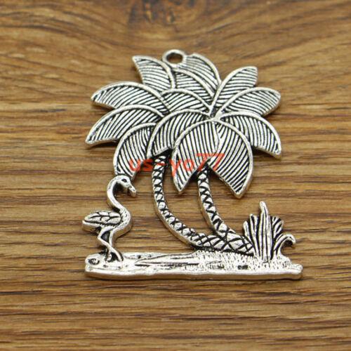 2pcs Large Palm Tree Plant Charms Pendants Antique Silver Tone 44x51 3428