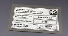 LANCIA DELTA INTEGRALE PPG COLORE / COLOUR / FARBTON BIANCO B/B 210 / F STICKER