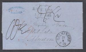 Denmark-1858-Stampless-SFL-HELSIGNOR-ABERDEEN-Major-Wright-Forwarding-Agent