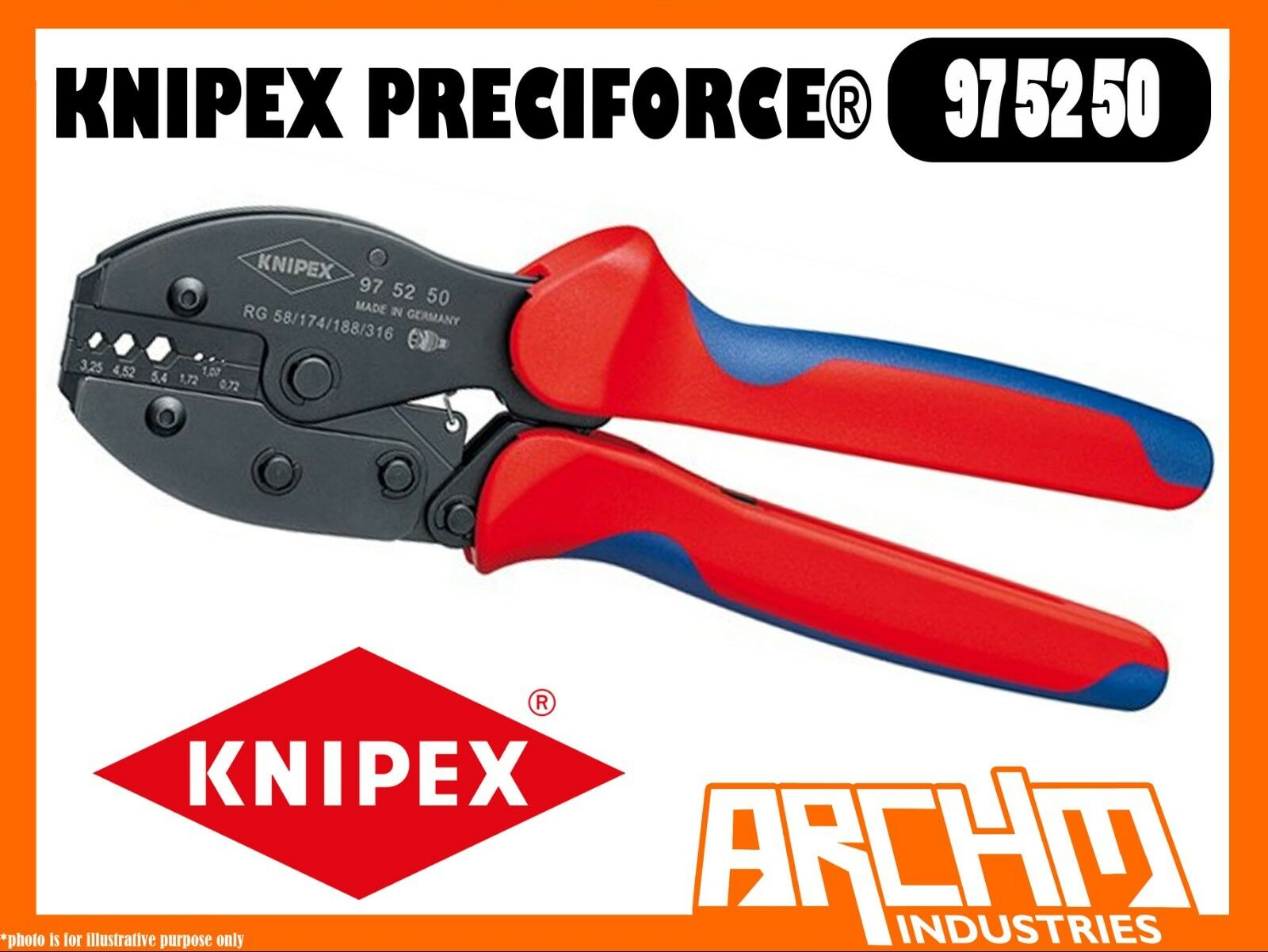 KNIPEX 975250 - PRECIFORCE CRIMPING PLIERS - 220MM - PRECISION DIES 6 POSITIONS