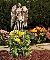 Antiqued Garden Angel Plant Lattice 25-1/2 Metal Garden Statue Decor Metal