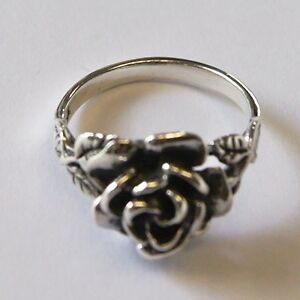 Rose Flower Ring 925 Sterling Silver Size.US=5, UK=J.