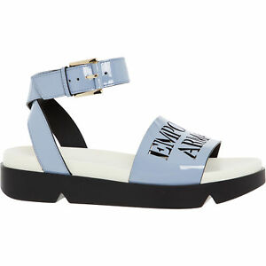 Image is loading EMPORIO-ARMANI-Women-s-Patent-Leather-Sandals-Powder- 624274420e1