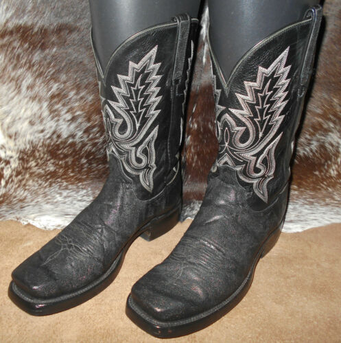 Lucchese 2000 exotic boots square toe black T1236D