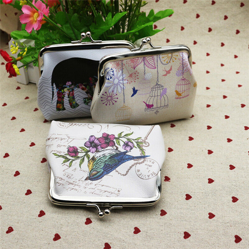 Elephant Ladies Girls Small Elephant Owl Flower Bird Coin Purse Wallet Trendy YU