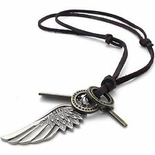 MENDINO Men's Alloy Leather Pendant Necklace Angel Wing Feather Cross Adjustable