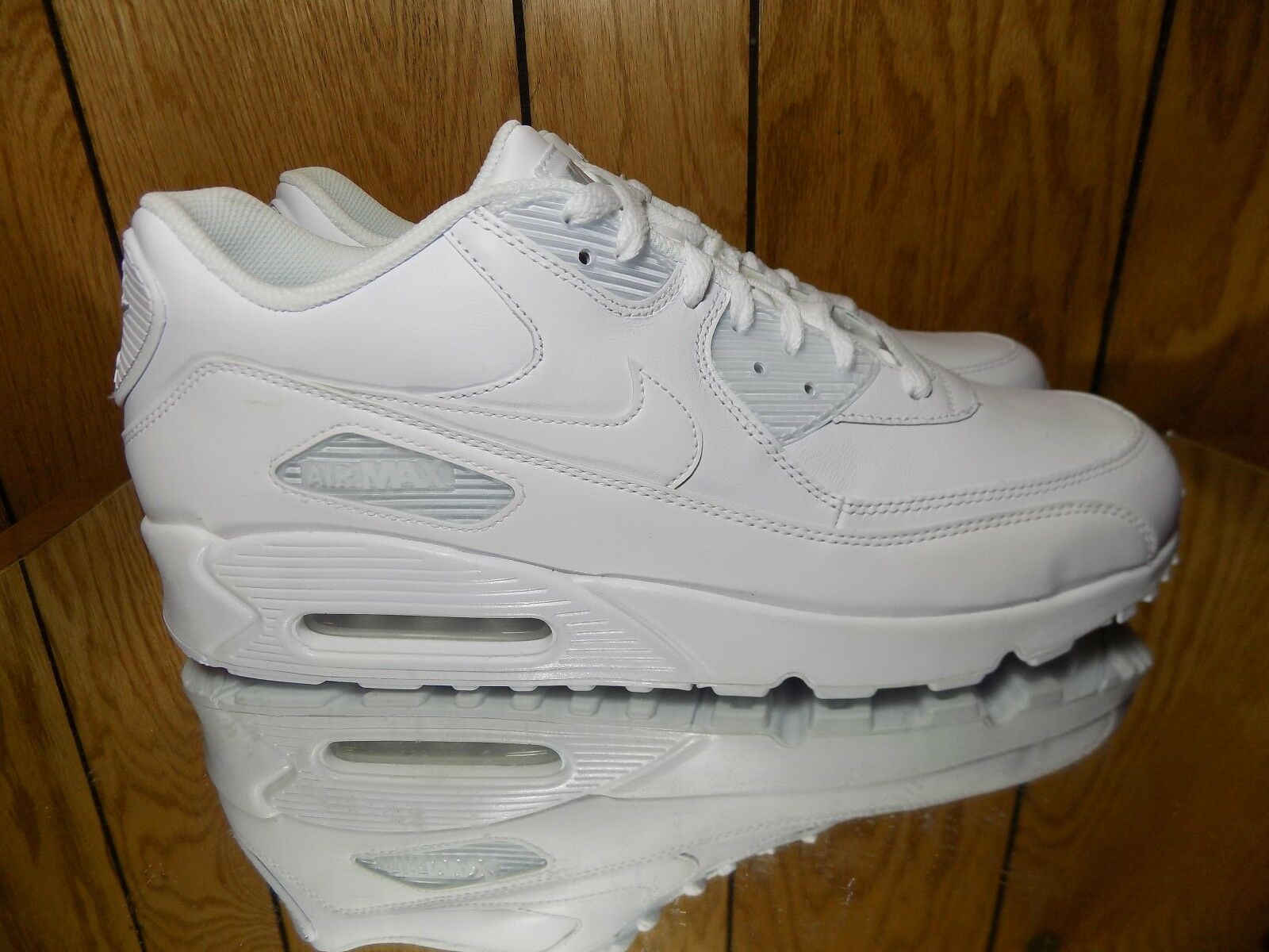 Nike Air Max 90 Leather men lifestyle sneakers NEW all white 302519-113 s 12.5