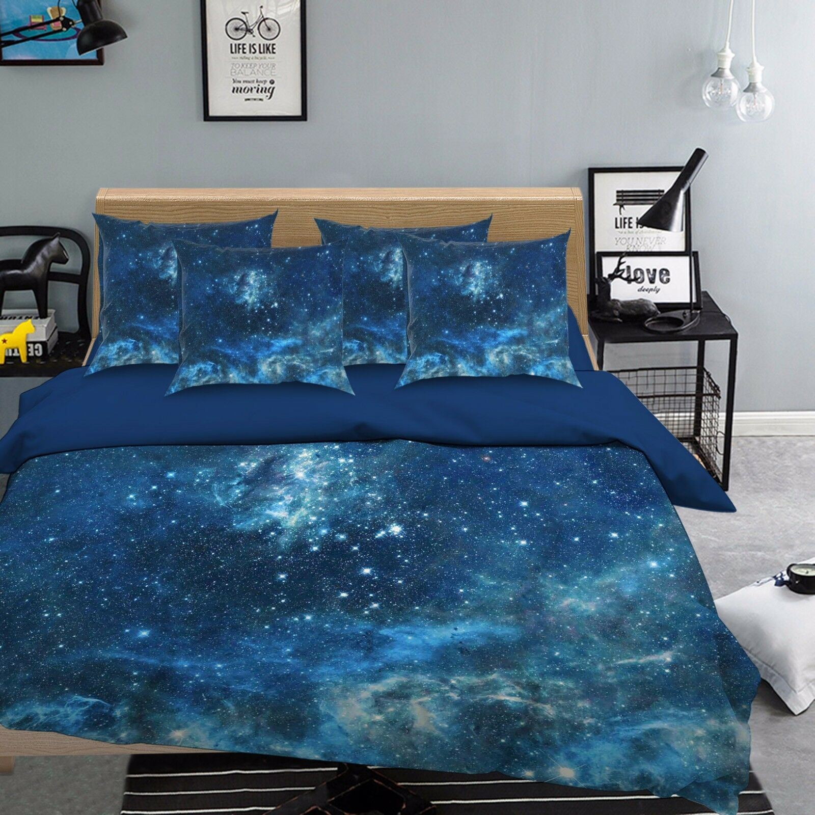 3D Sky Stars 768 Bed Pillowcases Quilt Duvet Cover Set Single Queen UK Carly