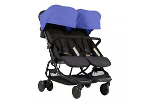 Mountain-Buggy-Nano-Duo-Stroller-Nautical-Lightweight-Double-Stroller-Blue-NEW