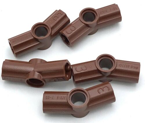 Lego 5 New Reddish Brown Technic Axle Pin Connector Angled #3-157.5 Degrees