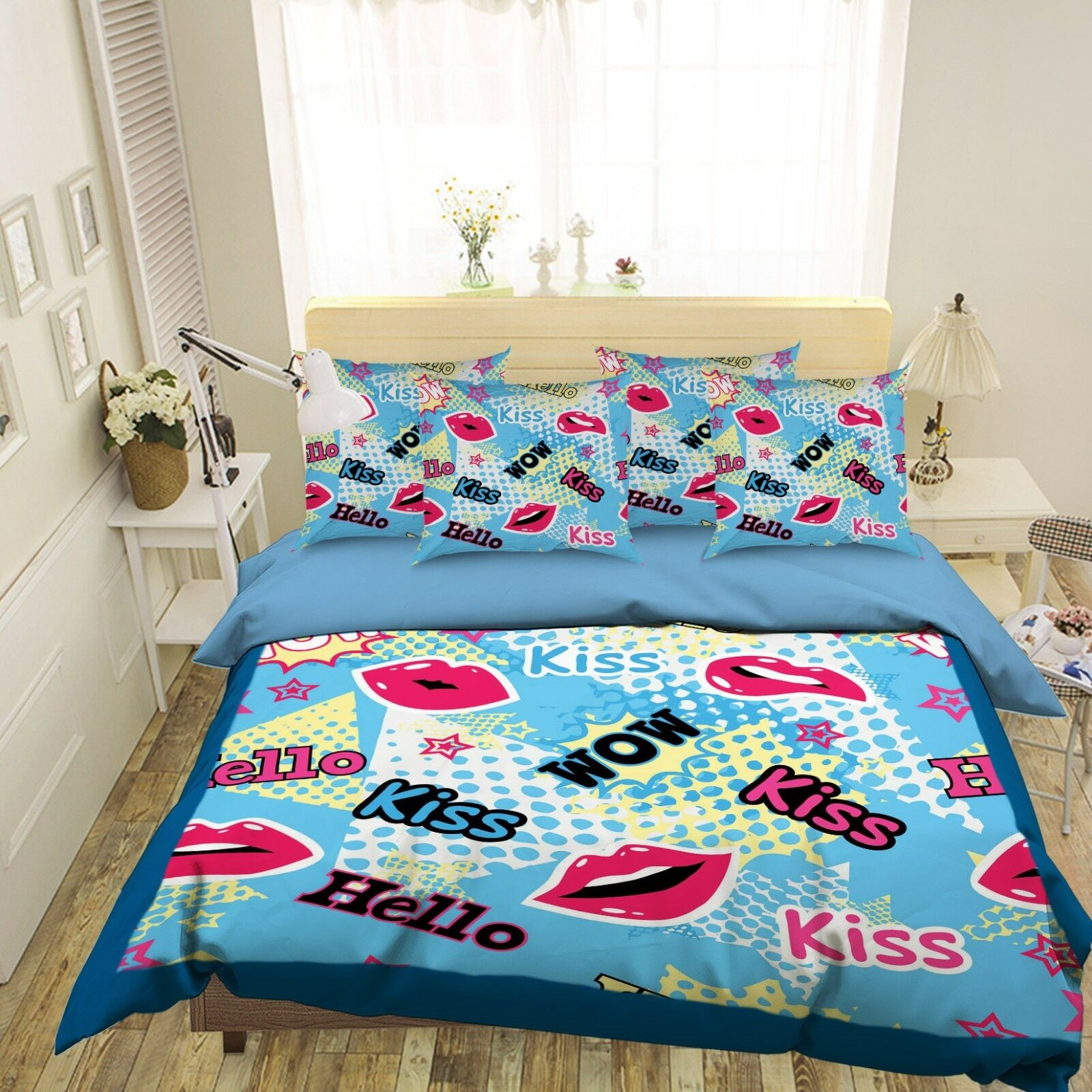3D Red Lips 4 Bed Pillowcases Quilt Duvet Cover Set Single Queen King AU Carly