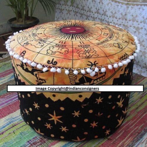 Orange Color Zodiac Sun Sign Ottoman Cover Cotton Footstool Cover Pouf Cover Art