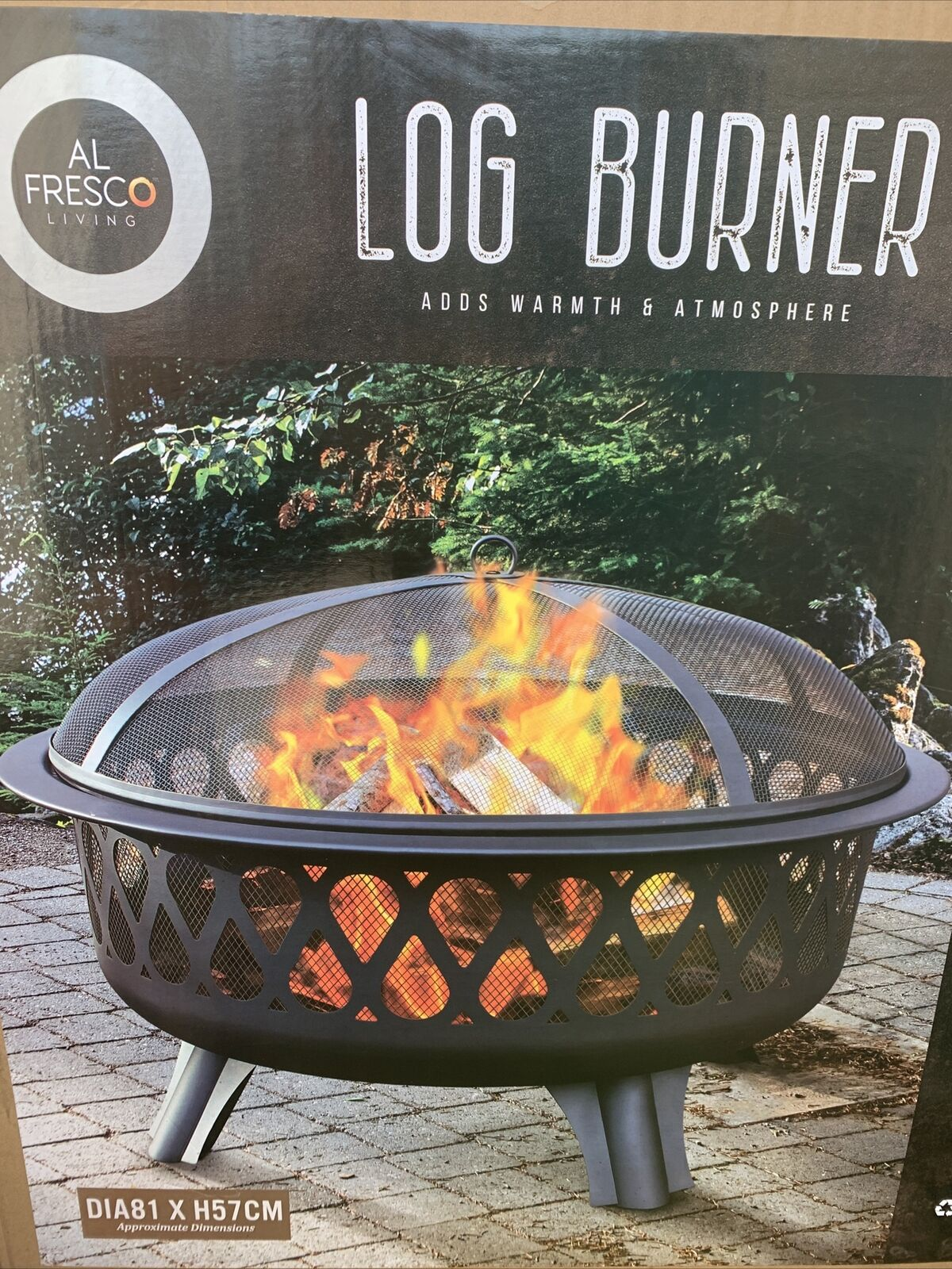 Large Alfresco Log Wood Burner Fire Pit Garden outdoor party BBQ Accessories New