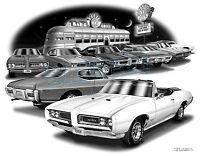 Pontiac Gto 1968 Convertible Muscle Car Art Auto Print 6114