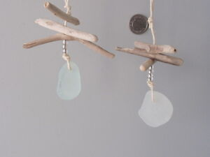 Driftwood-and-drilled-sea-glass-glass-beads-hanging-on-natural-hemp-set-of-2
