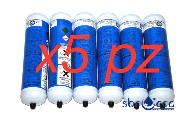 5 Bombola co2 E290 600 gr 0,95L monouso gasatore acqua marca eurotre usa e getta