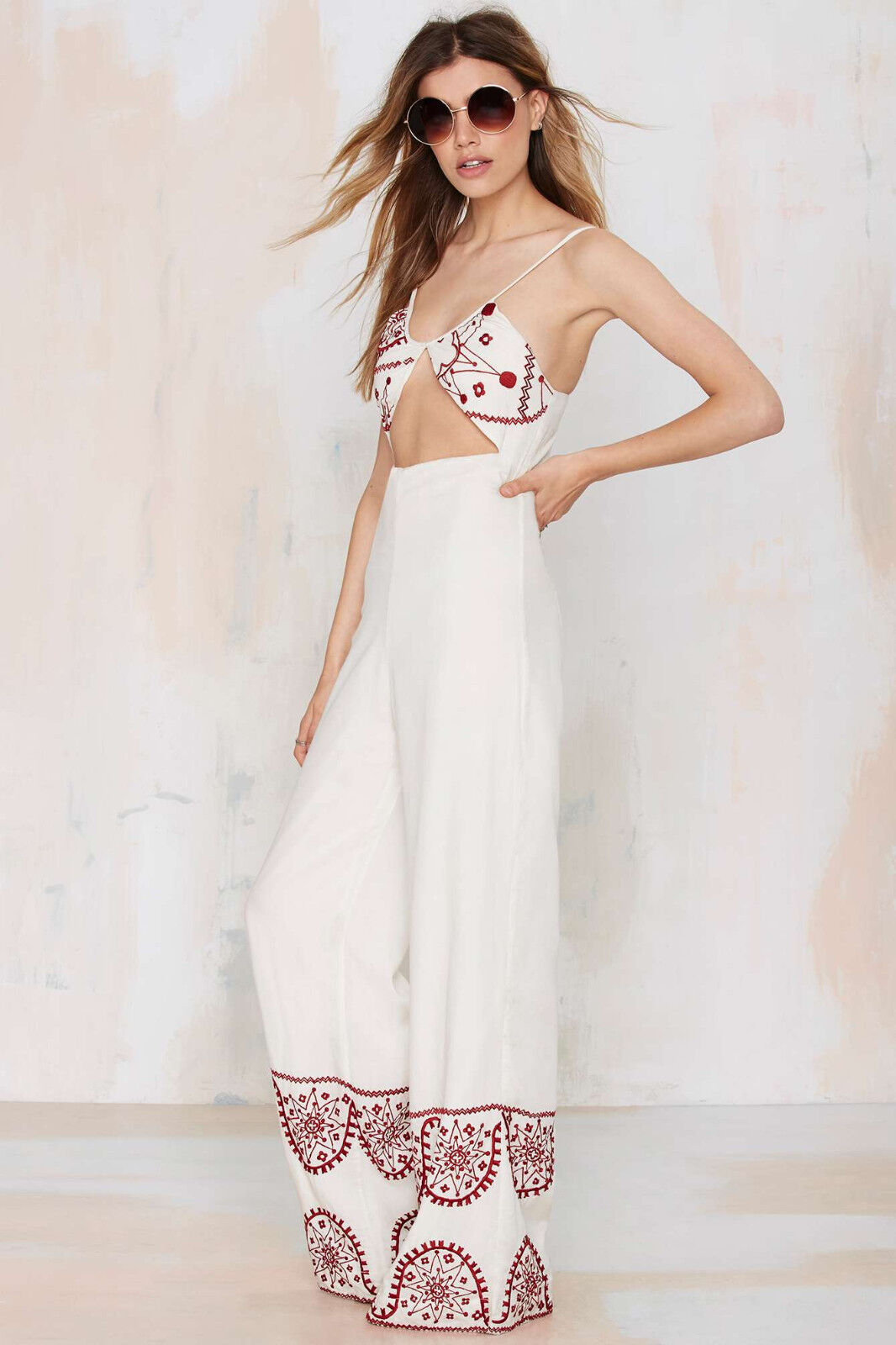 NWT  188 Bohemian Bones Cadillac Embroidered Jumpsuit XS nasty gal