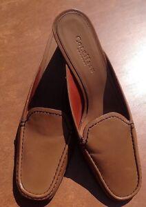 Cole-Haan-Women-039-s-Tan-Brown-Leather-Slide-Mule-w-Heel-9-1-2-B