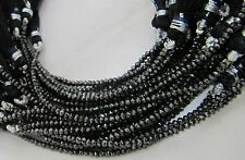 """AAA Quality 100%Natural Black Diamond Beads Rondelle Faceted 3mm Size, Length 4"""""""