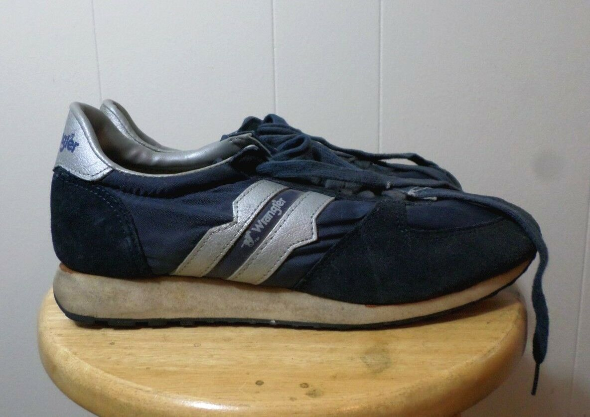 WRANGLER beat-up western tennis shoes size 8 rodeo athletic 1970s cowboy Scarpe classiche da uomo