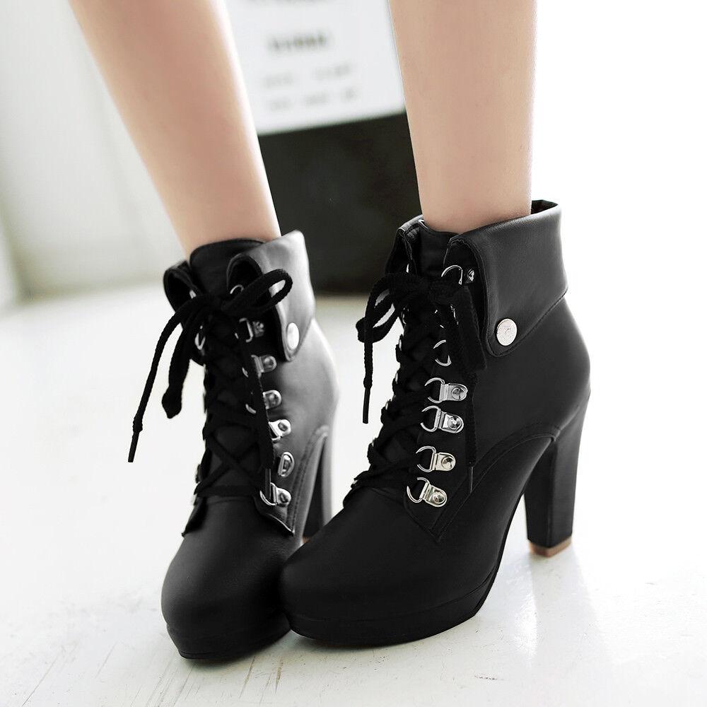 Women Lace Up Ankle Boot High Block Heel British Platform Platform Platform Casual shoes Plus Size a3f14f