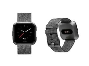 Fitbit Versa Special Edition Charcoal Wovenband With Case Fb505bkgy
