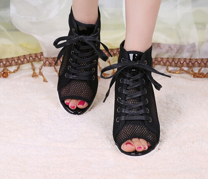 Élégantes filles Hidden Haute Mi Talons Fashion Hollow Out Mesh Lace Up Sandal chaussures