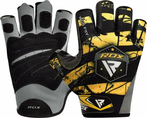 RDX Weight Lifting Gym Gloves BodyBuilding Grips Fitness Training Yoga Strap F11
