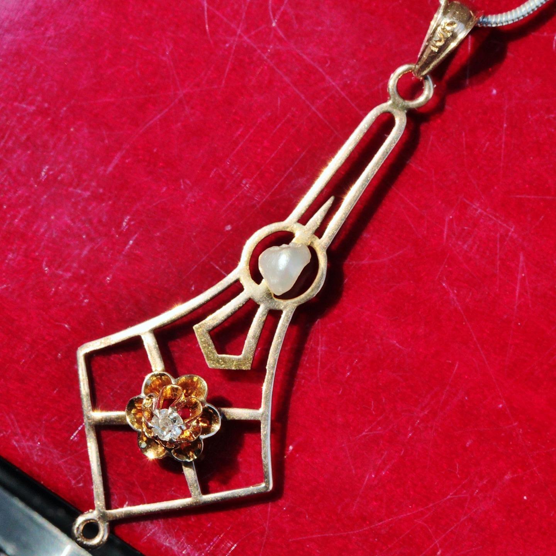 10k pink gold pendant 0.05ct diamond pearl charm 1890's antique handmade 0.9gr