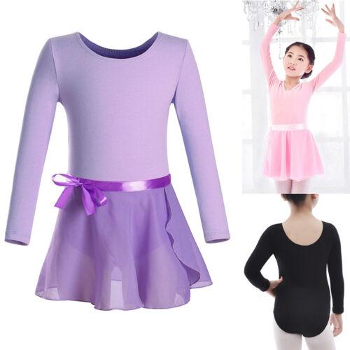 Girls Ballet Tutu Dance Chiffon Skirt Skate Wrap Scarf Long Sleeve Leotard 2 pcs