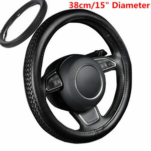 1x-Weaving-Braiding-Look-Leather-Car-Steering-Wheel-Cover-Diameter-38cm-15Inch