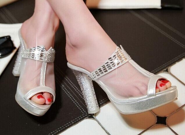 Último gran descuento Zapatos zapatillas zuecos sandalias talón 10 cm plata cómodo élégant 9304