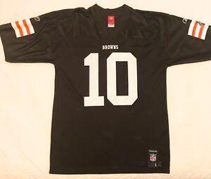 timeless design 16f89 b8ed9 Details about Reebok Cleveland Browns Brady Quinn #10 Notre Dame Jersey  Size L