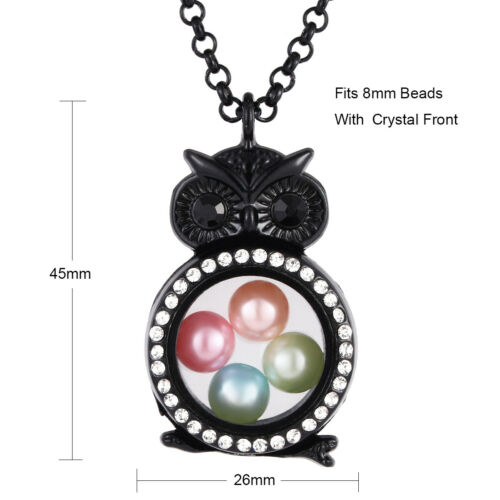 Black Color Living Memory Floating Pendant Pearl Cage Glass Locket Necklace