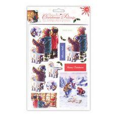 "Papermania Christmas Tidings 4x4"" Stepper Cards & Envelopes - Shop Window (4 Pac"