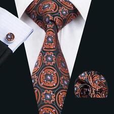 Black 100% Pure Silk Neck Tie Cuff-links &Handkerchief Set Orange Circle Design