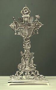 Reliquiario croce in metallo argentato h cm 32 Reliquary