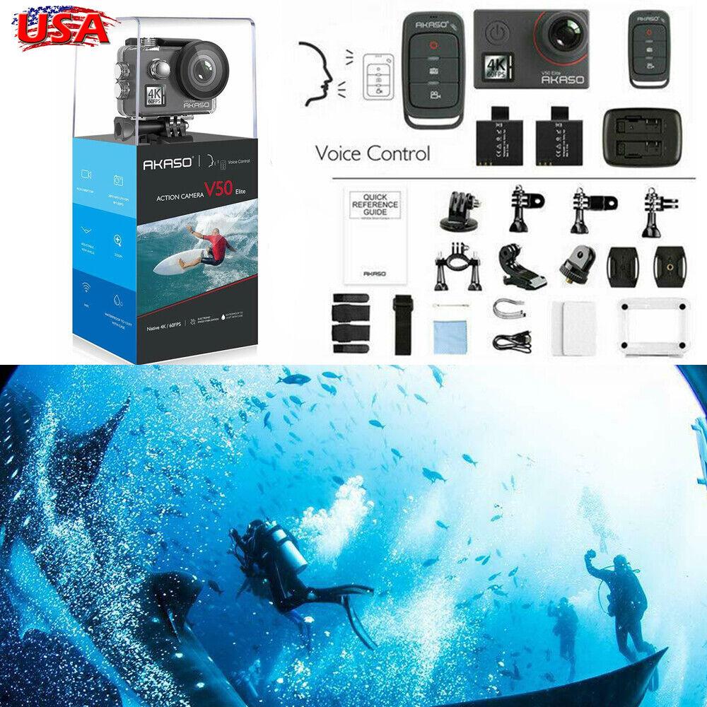 Akaso V50 Elite Ultra HD 4K/60fps 20MP Action Camera EIS Sport DV Camcorder WiFi 20mp action akaso camcorder camera eis elite sport ultra v50