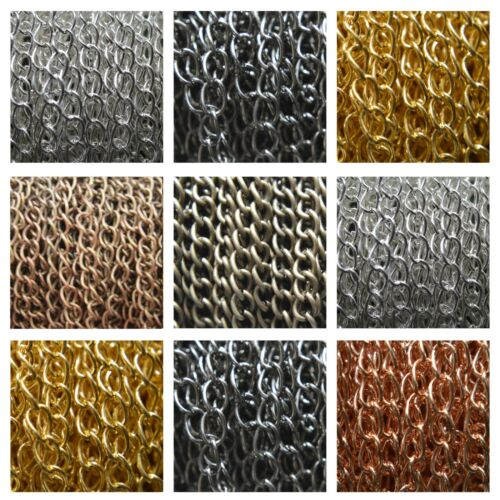 2 Metres Silver Plated Bronze Gold Fine Metal Curb Jewellery Chain NICKEL FREE