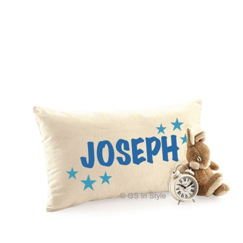 PERSONALISED BOYS CUSHION COVER ANY NAME PILLOW CASE BOYS BEDROOM BIRTHDAY GIFT