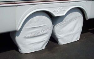 """2 ADCO 30 to 32"""" TIRE COVERS Motorhome RV fit 16"""" 16.5"""" rim polar white"""