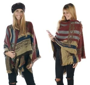 Winter-Shawl-Wrap-Blanket-Western-Cowboys-Ethnic-Mexican-Poncho-Big-Scarf-Cape