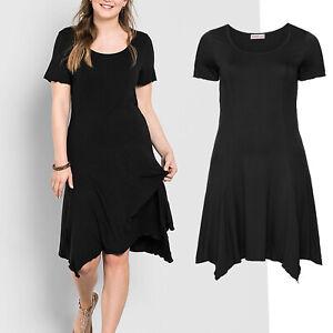 schoenes-schlichtes-Basic-Kleid-schwarz-Gr-44-Jerseykleid-Casual-Abend-Stretch