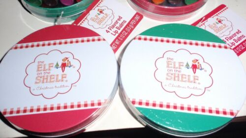 SET OF 4 ELF ON THE SHELF ROUND TINS WITH FLAVORED LIP BALMS 4 PC EACH TIN NEW