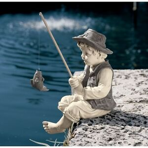 Image Is Loading Little Boy Fishing Statue Guy Resin Art Sculpture
