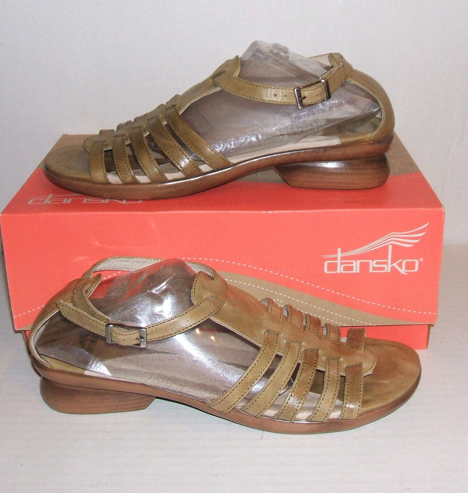 DANSKO Women's Olive Green Leather Low Heel Sandals shoes SZ. 39 EU   8.5 - 9 US