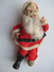 vtg-felt-suit-SANTA-CLAUS-FIGURE-plastic-face-retro-antique-Christmas-old-Japan