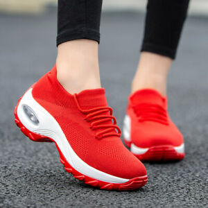 Womens-Sneakers-Knitted-Air-Cushion-Mesh-Breathable-Casual-Walking-Slip-On-Shoes